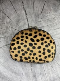 Portemonnee / pouch. Écht leer/vacht. Bruin - Zwart Cheetah