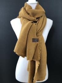 Extra lange soft sjaal Plissé (ribbel) donker Okergeel