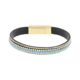 BIBA armband van Pu met kraaltjes. Lichtblauw-goud combi. Goudkleurige sluiting