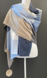 Langwerpige super soft sjaal. Grote kleurblokken. Blauw combi