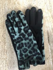 Handschoenen, luipaard.  Zwart - Groen