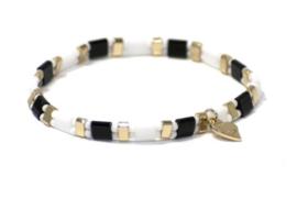 Miyuki (platte) kralen armband, zwart-wit-goud.
