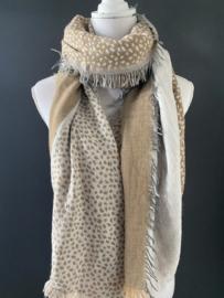 Lichtgewicht langwerpige cheetah sjaal. Dubbelzijdig. Camel.