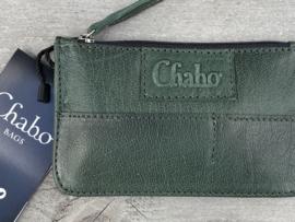 "Chabo mini portemonnee, écht leer. ""Coin-wallet"" Green - groen"