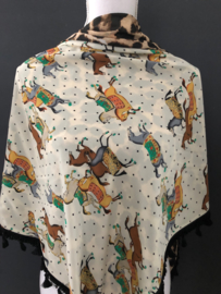 Circus paarden / Luipaard (panter) couture sjaal.