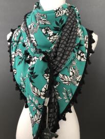 Zeegroen luipaard-bloem. Couture sjaal.