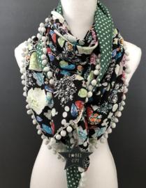 Vrolijke herfst tinten op zwart / Groen - witte stip, couture sjaal.