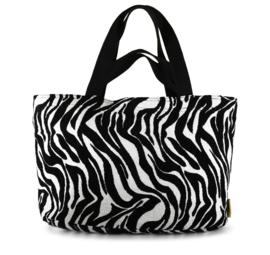 Mycha Ibiza, Méga, super grote strandtas + minitasje. Zebra dessin jacquardstof.