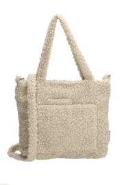 Teddy tas met voorvak, medium maat tas. lange band en rits. Ecru - beige