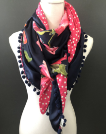 Navy - fuchsia roze, grote bloem / stippenprint achterkant. couture sjaal.