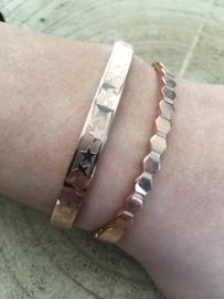 RVS (stainless steel) armband. Honingraat. Rosé kleurig.