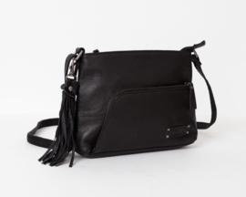 """Bag 2 Bag middelmaat horizontale tas, """"Faro"""". écht leer. Zwart."""