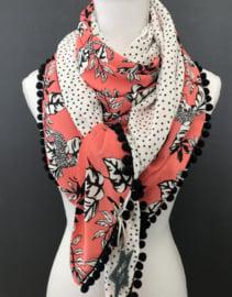 Koraal luipaard-bloem.  Couture sjaal