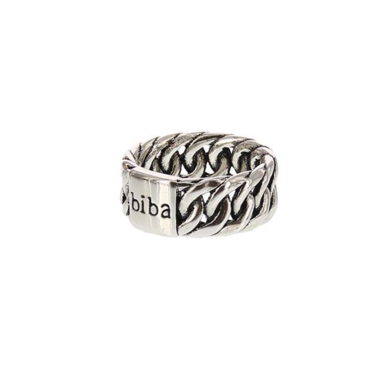 "Biba ring. Verzilverd. Model breed ""chain"""
