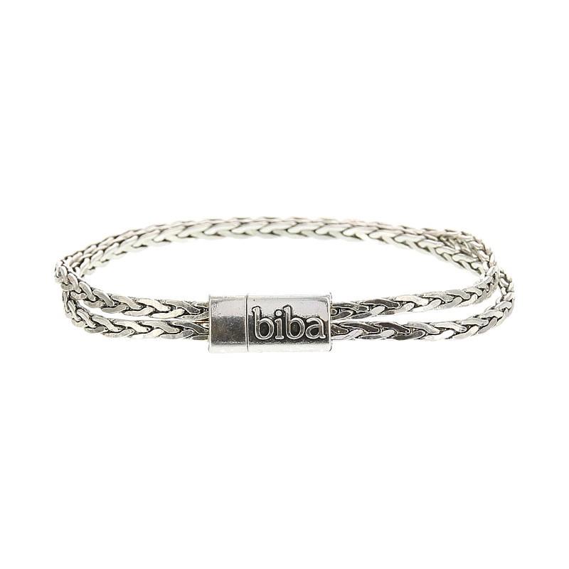Biba armband, silver plated metaal. Buddha look. Model dubbel smal.
