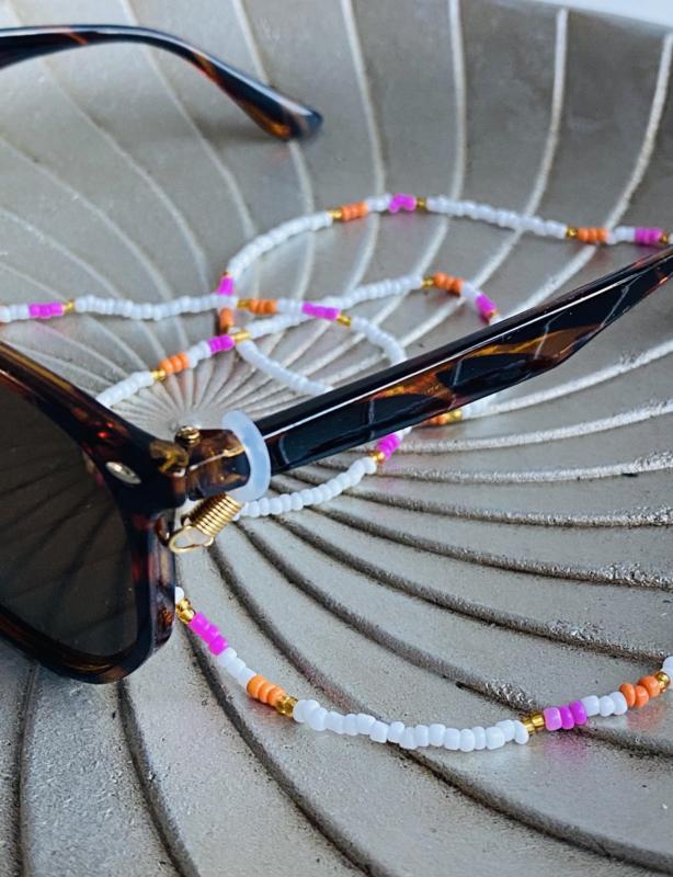 Rvs zonnebril koord, kraaltjes. Wit-roze-oranje