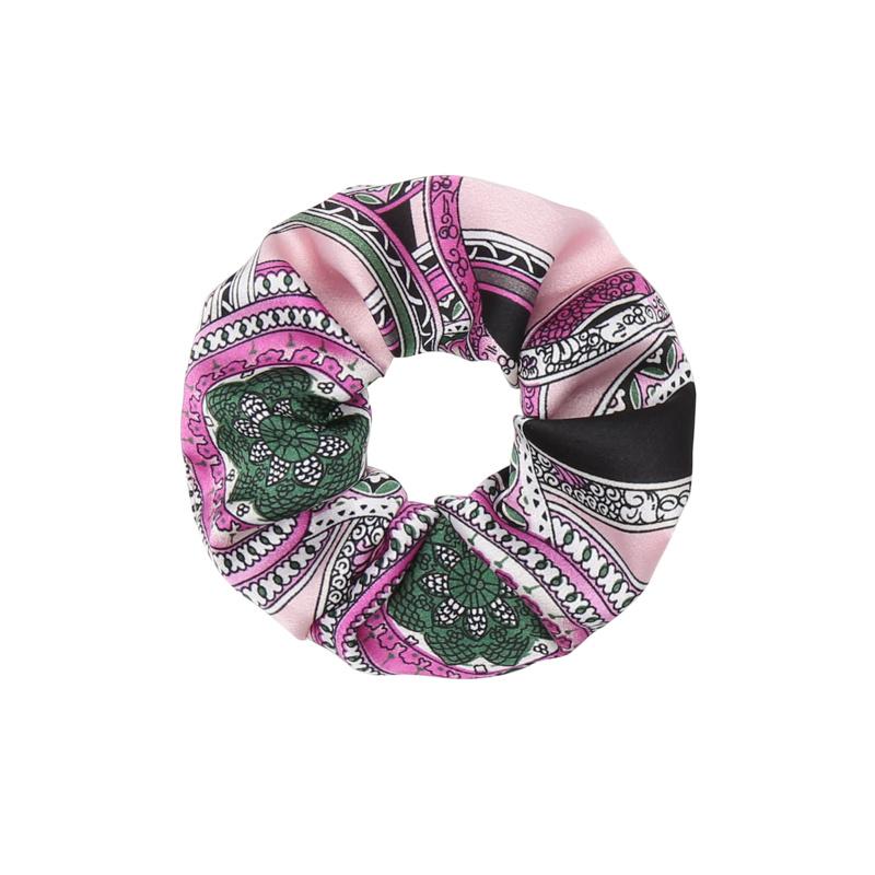 Scrunchie Roze - Groen classic print