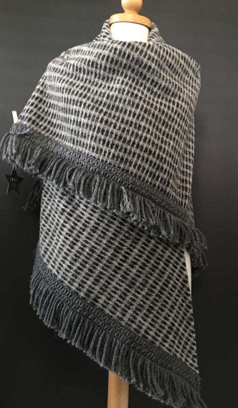Omslagdoek deken kwaliteit, Grijs - Zwart.