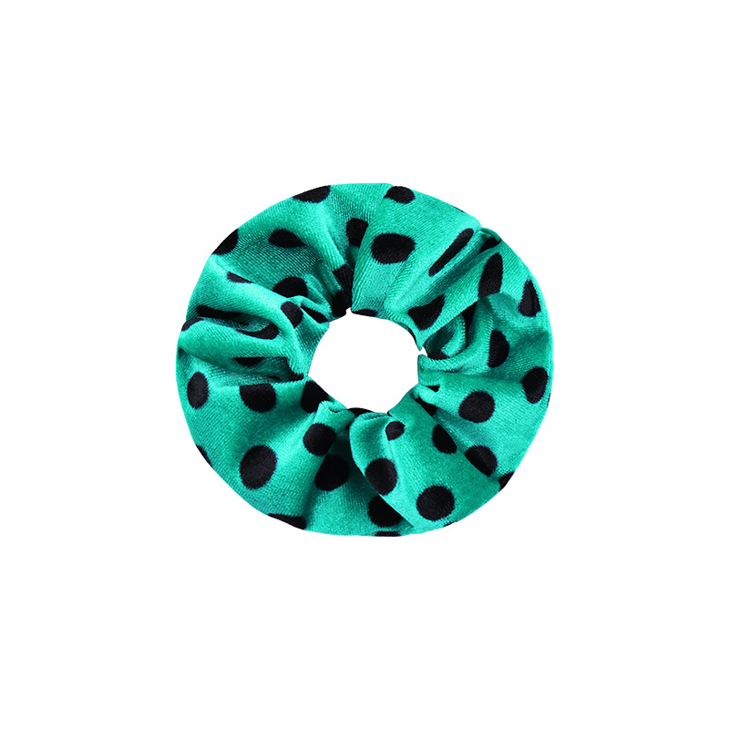 Scrunchie Groen, stippen print
