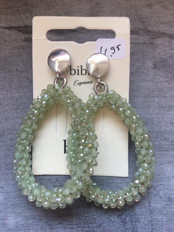 Biba Kraaltjes oorbellen, ovaal. Zilver - licht olijf groen.