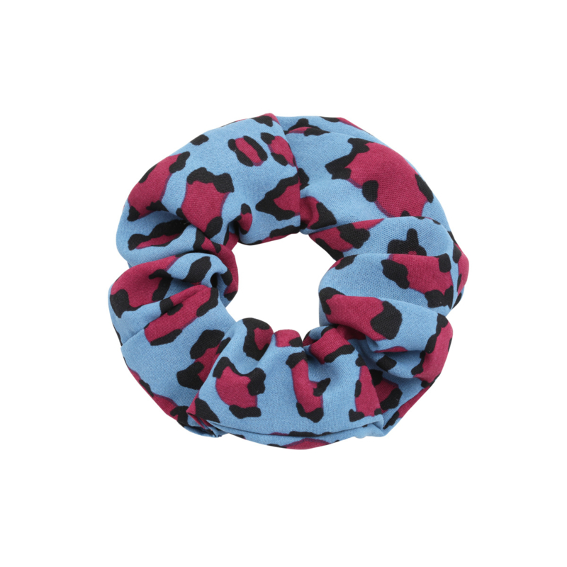 Scrunchie Blauw - Cerise Luipaard / panter print