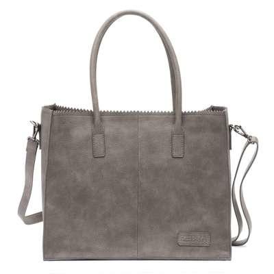 Kartel bag - tas van ZEBRA. Horizontaal model. Suedine. Grijs.