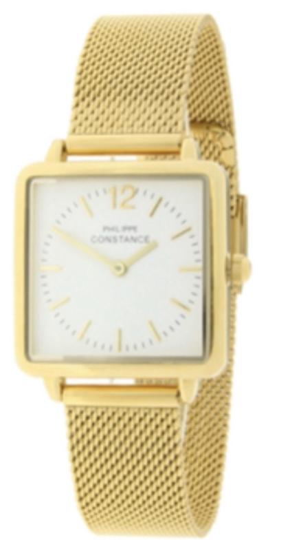Horloge RVS band. Philippe Constance. Vierkant model. Goud kleurig.