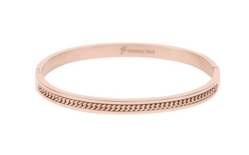 """RVS (stainless steel) armband. (Bangle) ingelegd met """"ketting"""". rosé goud kleurig."""