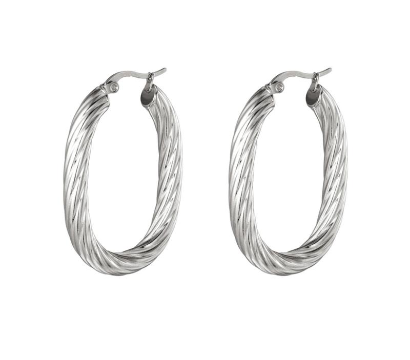 """RVS (stainless steel) ovalen creolen """"twist"""". Zilverkleurig"""