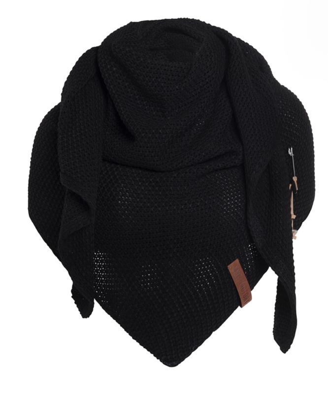 Sjaal/omslagdoek van het mooie merk Knit Factory. Zwart