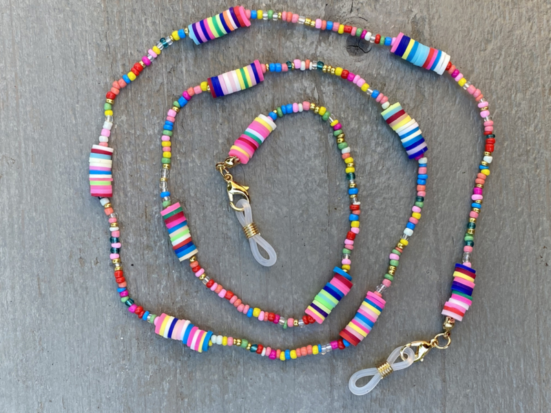 Zonnebril koord, gekleurde kraaltjes. Multi Colour