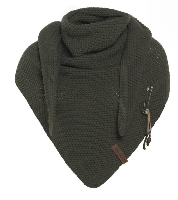 Sjaal/omslagdoek van het mooie merk Knit Factory. Donker amy groen / Khaki