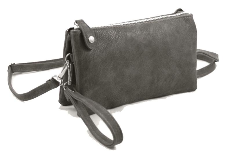 Clutch / kleine tas New York,  met drukknoop. Grijs