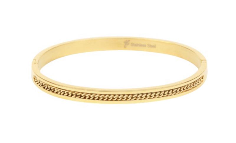 "RVS (stainless steel) armband. (Bangle) ingelegd met ""ketting"". goud kleurig."