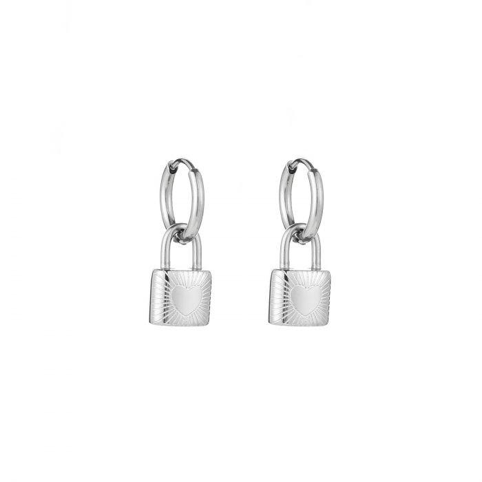 """RVS oorbellen (stainless steel), ringetjes met slotje """"love/stripes"""" Zilverkleurig"""