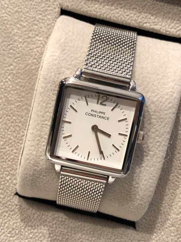 Horloge RVS band. Philippe Constance. Vierkant model. Zilver kleurig.