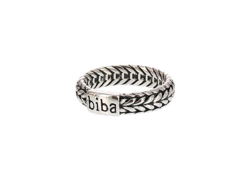 """Biba ring. Verzilverd. Model smal """"vlecht"""""""
