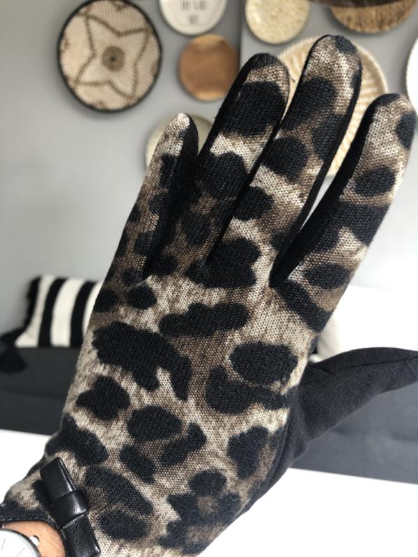 Handschoenen, luipaard.  Zwart - Bruin