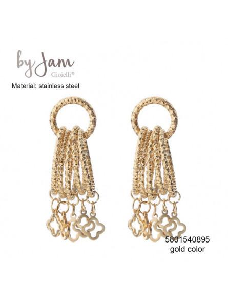 By Jam, RVS oorbellen (stainless steel), goudkleurig. 5 ringen met  hangertjes.
