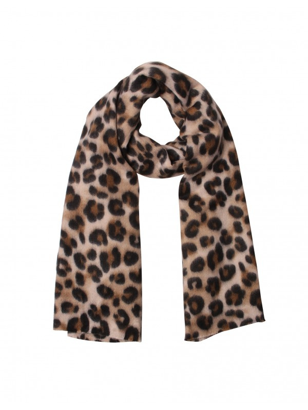 Mega grote langwerpige super soft sjaal, Luipaard (panter) dessin. Bruin.