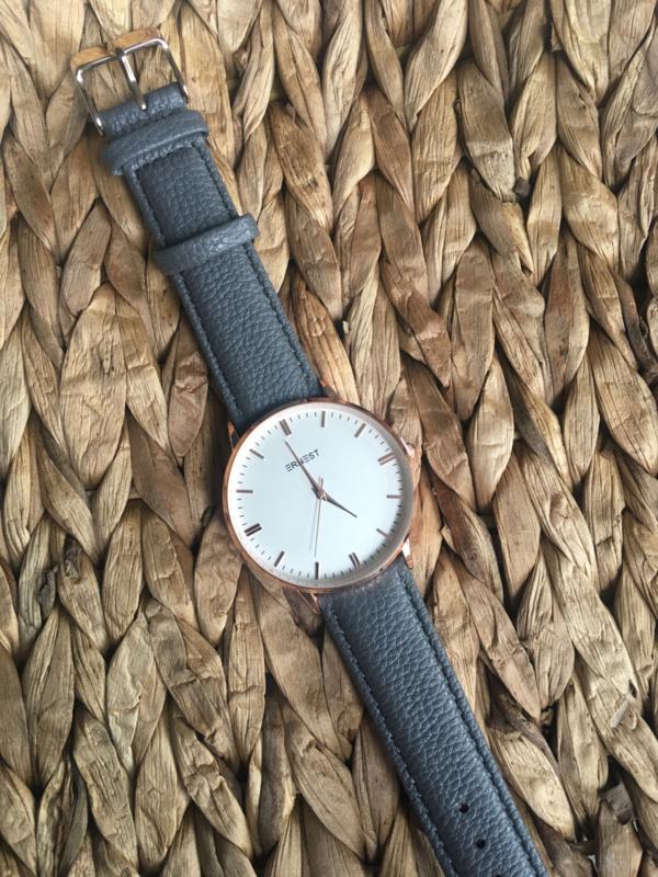 Horloge Ernest,  stijlvol met stiksel op de band. Donkergrijs  - rosé