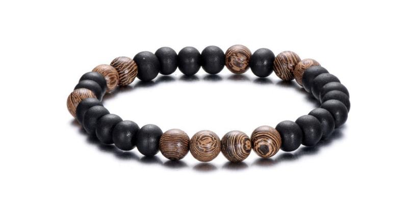 Heren armband, houten kralen. Bruin - zwart.