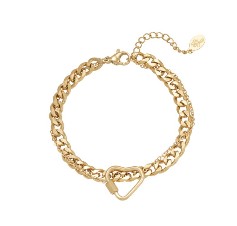 RVS (stainless steel) armband, dubbellaags, fijne schakel met hart . Grove schakel. Goudkleurig