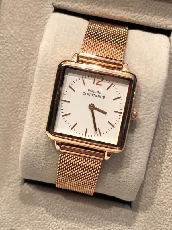 Horloge RVS band. Philippe Constance. Vierkant model. Rosé kleurig.