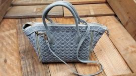 Leren stevige handtas met leuk relief design