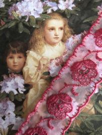 Kant | Roze | Vintage frambozen roze broderie katoenen kant met een roosje (2.5 cm)