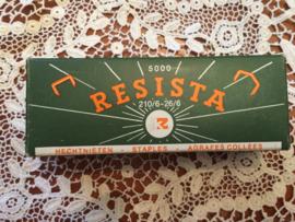 Vintage doosje RESISTA met 500 hechtnieten voor de nietmachine  | Staples 210/6-26/6 5000 stuks