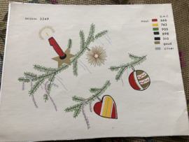 VERKOCHT | A.M.C. | KERST | Dessin 3249 - Prachtige handbeschilderde kleurenkaart kersttafereel met kleurnummers