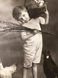 Frankrijk | Pasen | 'Hereuses Paques' EKP 1350 - Vrolijk jochie met bloesem en kippen (ca. 1900-1910)