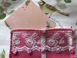 Romantisch zakje voor schrift of notebook (23 x 15 cm)